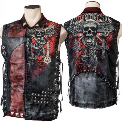 Custom Denim and Leather Vest WSCV-410 RTS