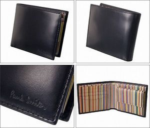 PaulSmithポールスミス二つ折り財布2011年新作ブラック×マルチメンズAEXA/1033/W232【smtb-MS】【あす楽対応】【楽ギフ_包装選択】