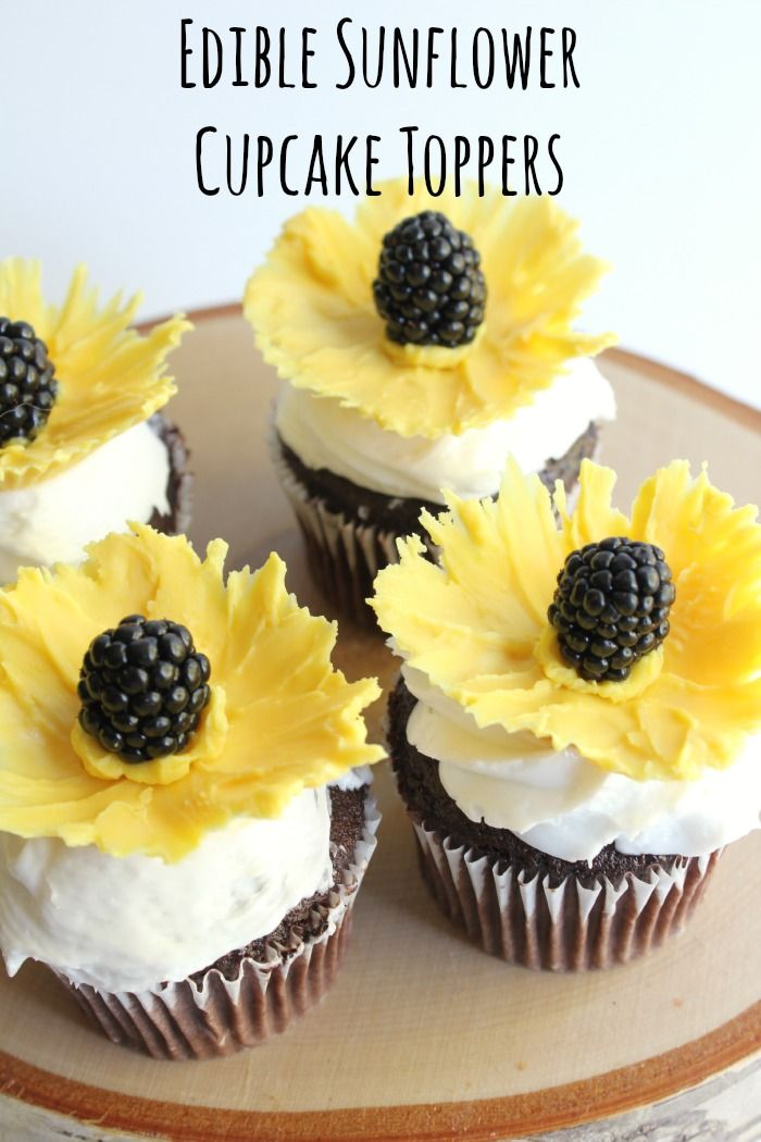 Edible Sunflower Cupcake Toppers easy to make with candy melts