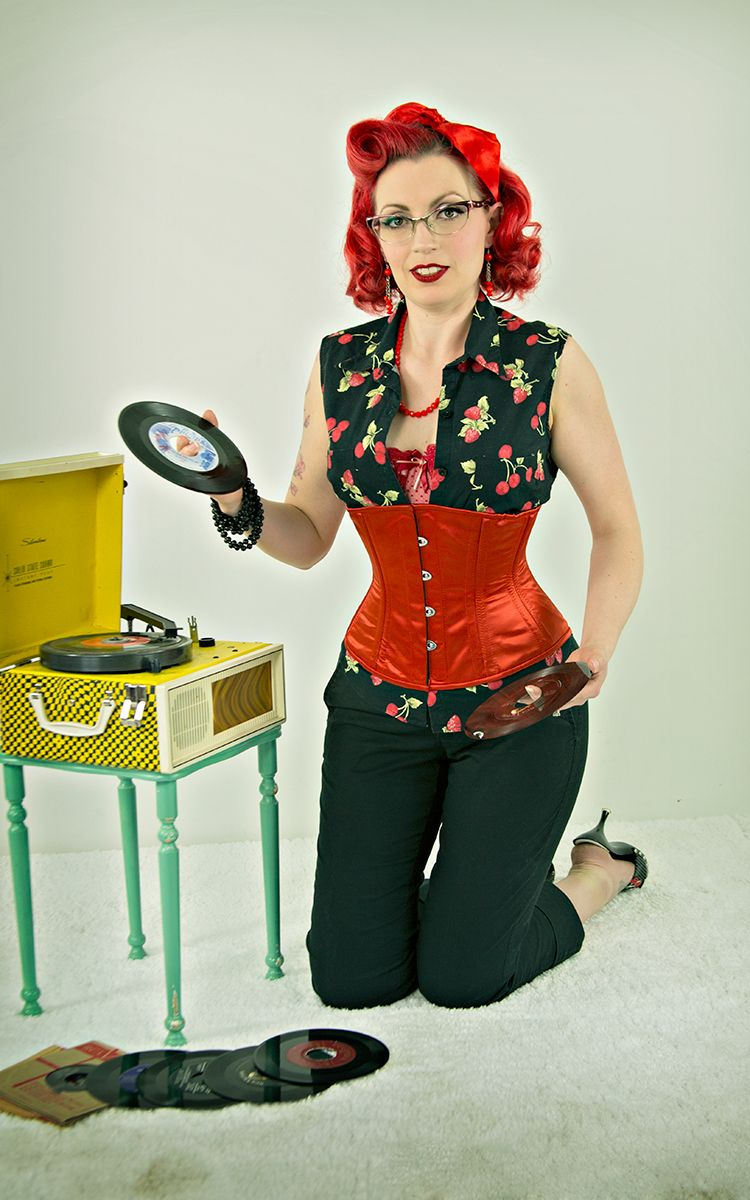 Jessica from pinup persuasion in our cs 411 red satin corset orchardcorset photoshoot