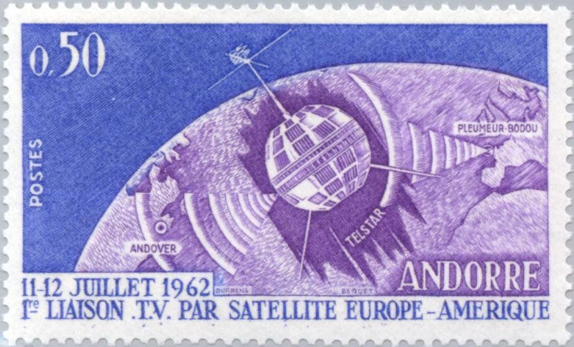 Stamp: Telstar over part of the globe, Pleumeur-Bodou