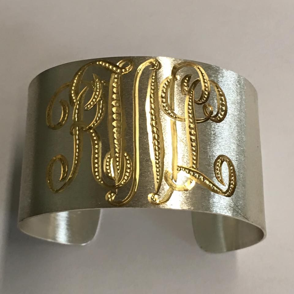 b9c5c00553f John Wade's newest monogrammed cuff bracelet! 1.5 inches wide with a  reverse plating process & new/old style engraving. Call today to order  yours!