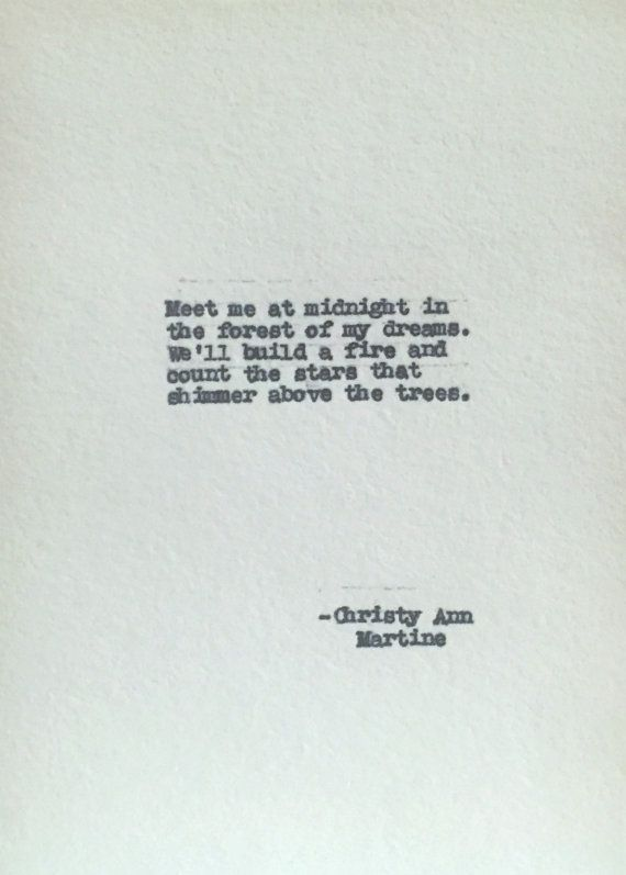 Love Poems Typed Anniversary Gift on Cotton Paper Meet Me at Midnight Poem by Christy Ann