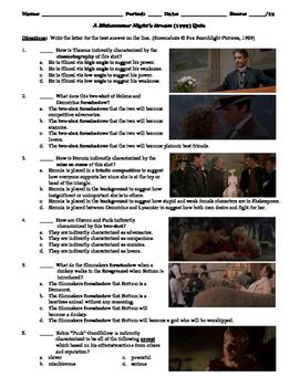 A Midsummer Night S Dream Film 1999 15 Question Multiple Choice