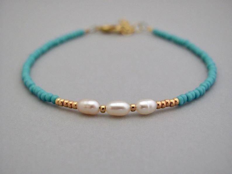 Pearl Bracelet, Real Pearl Bracelet, Turquoise Bra