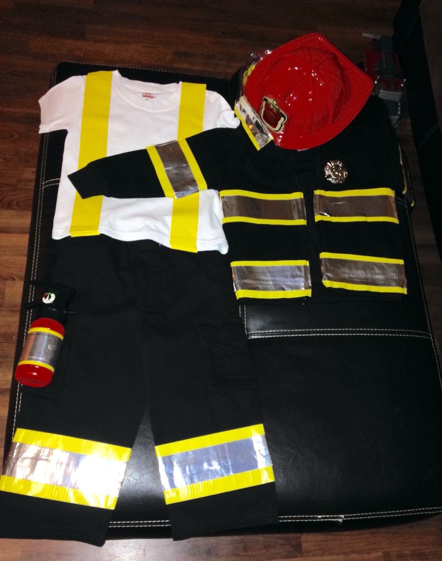 25 creative diy costumes for boys favorites pinterest diy rocks fireman costume was so simple and inexpensive to make this year i spent 15 at walmart on black cargo pants a black jacket yellow duct tape solutioingenieria Choice Image