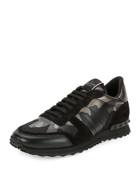 la clientèle d'abord à bas prix paquet à la mode et attrayant VALENTINO Rockrunner Metallic Camo-Print Trainer Sneaker ...