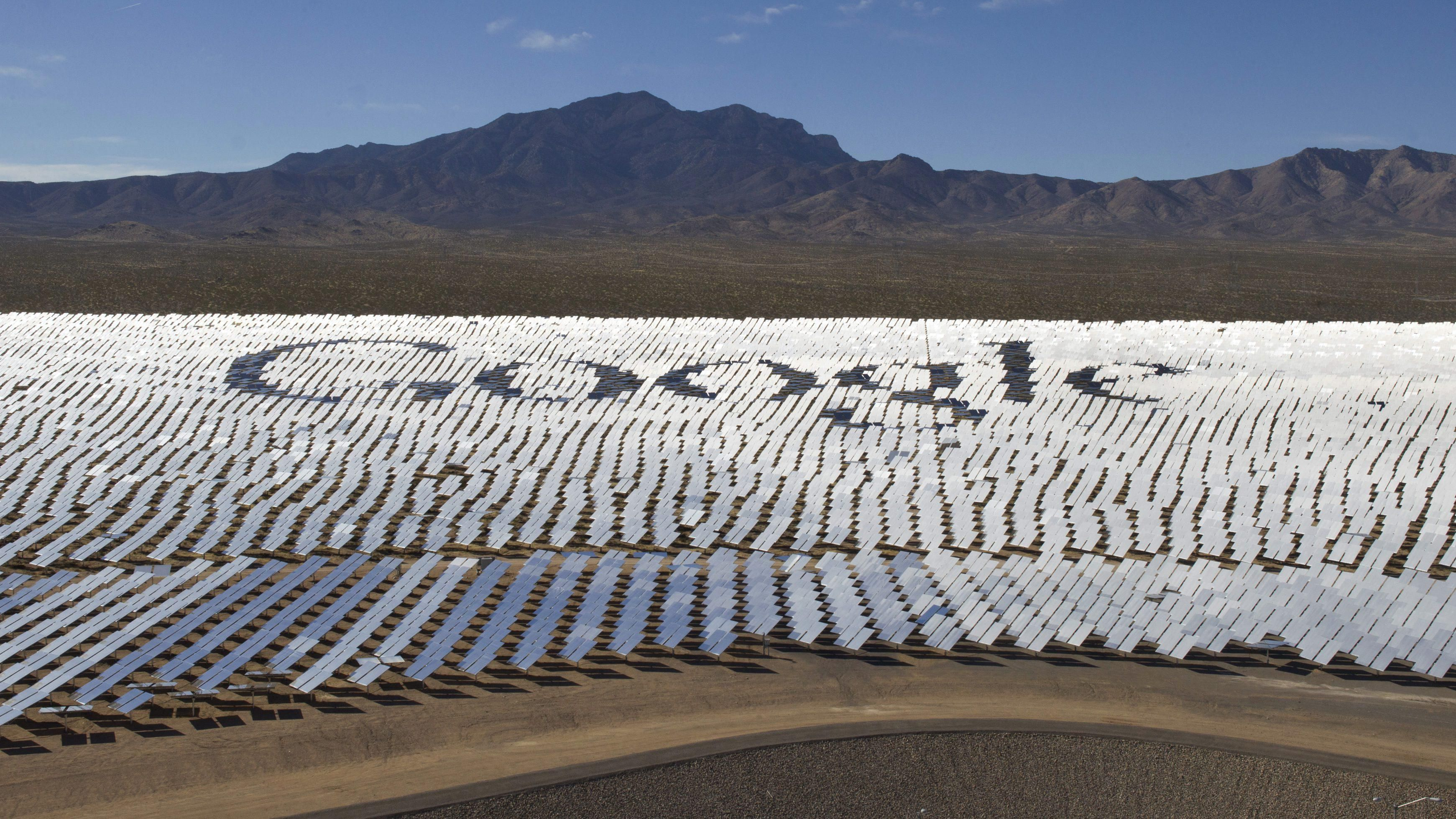 The Google Logo Is Spelled Out In Heliostats During A Tour Of Ivanpah Solar Power Facility Electricity Generation System Electric Generating Mojave Desert Near California Nevada