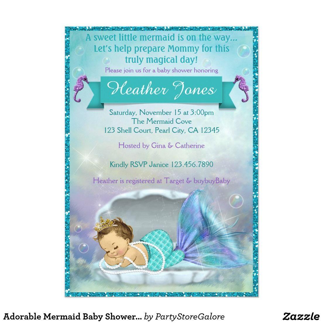 Adorable Mermaid Baby Shower Invitations #130 | Mermaid Baby Shower ...