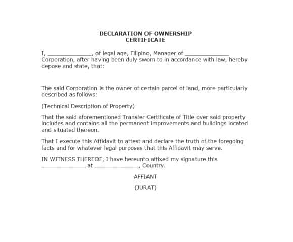 Certificate Of Ownership Template 4 Templates Example Templates Example Certificate Certificate Templates Templates