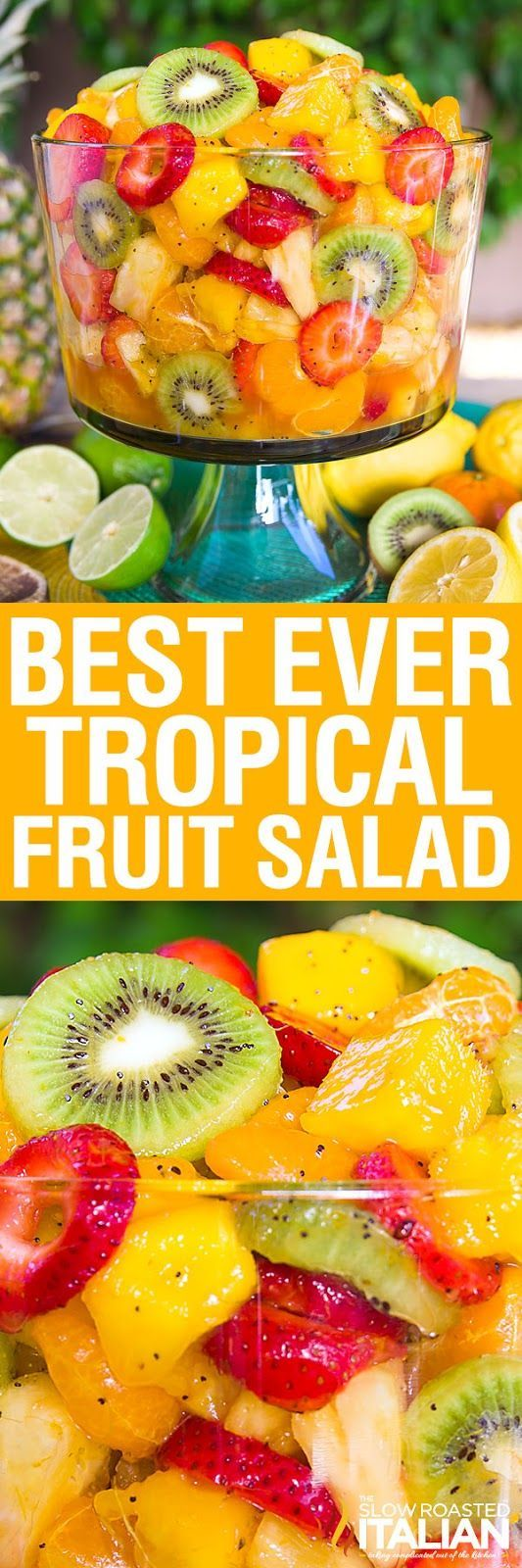Best Ever Tropical Fruit Salad is the only recipe you'll ever need.  My entire picky family devoured this fruit salad. The dressing is truly magical. The combination of citrus juices with honey are phenomenal. Then we added a few special ingredients that give it a little nuttiness and a touch of zestiness to kick it up a notch. Perfec...