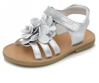 5f268c42c Garvalin sandalia niña plata con flores en el empeine
