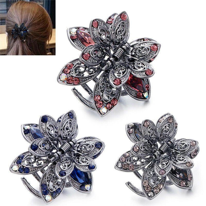 Metal Barrette Rhinestones Crystal Flower hair claw Barrette clamp bridal clip