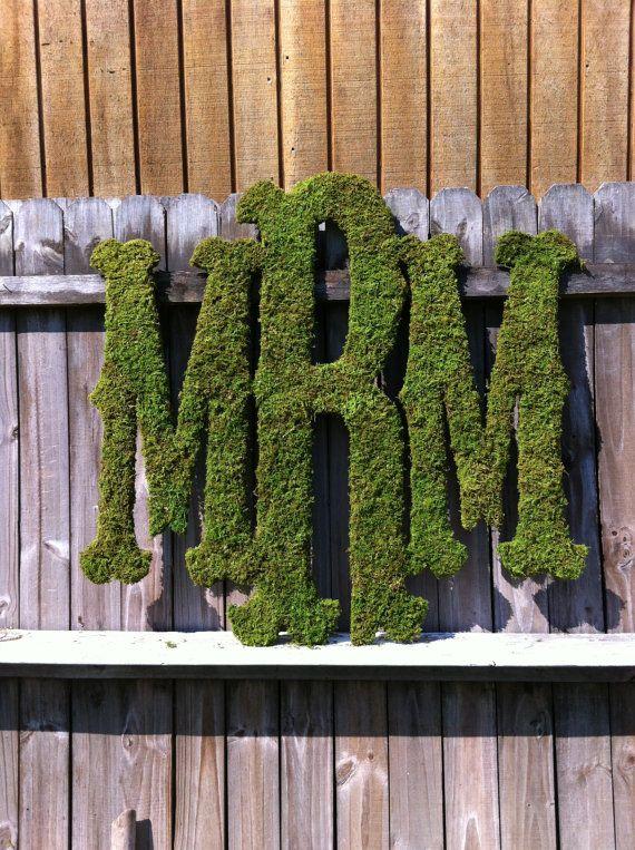 Large Moss Monogram Rustic Wedding Monogram Home Decor Via Etsy For My