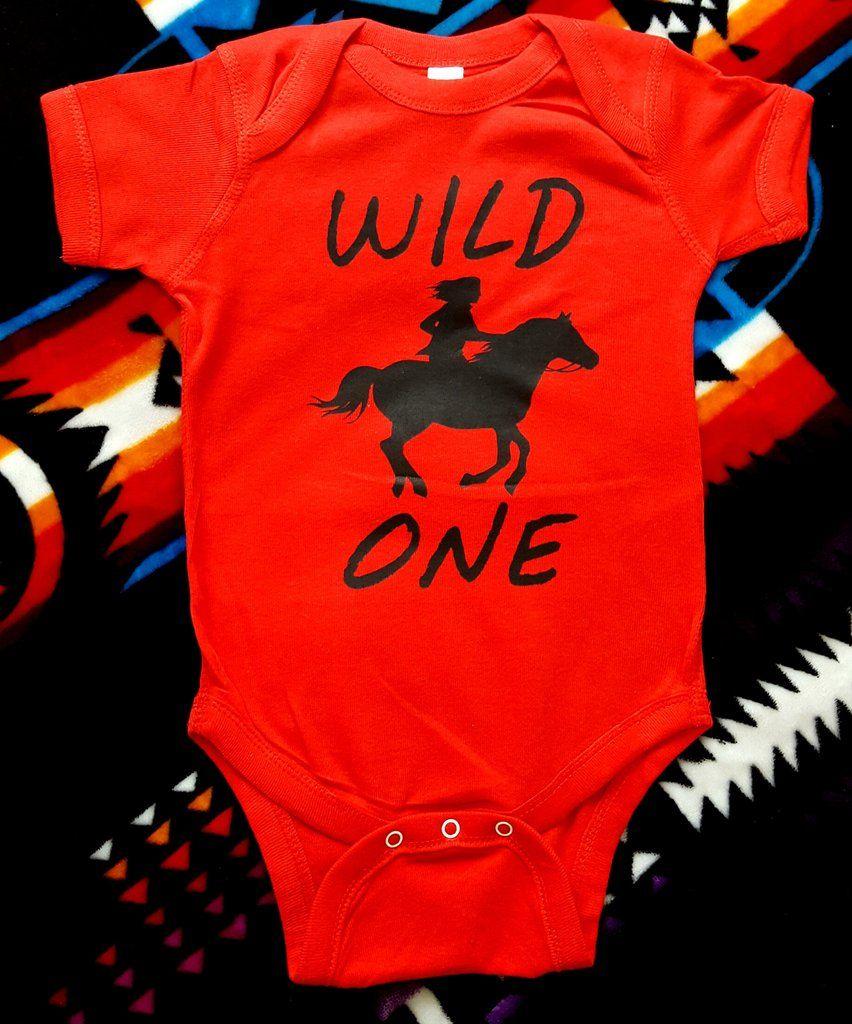 50fe765c9896 Wild One Red Horse Cowboy Cowgirl Onesie