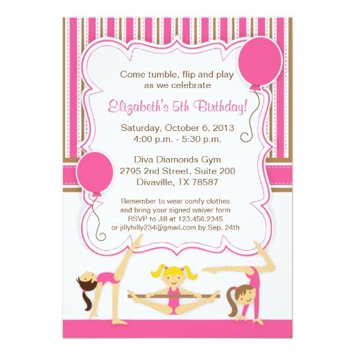 Deals Gymnastic Girls Birthday Party Invitation Online After You Search A Lot For Where To Buy