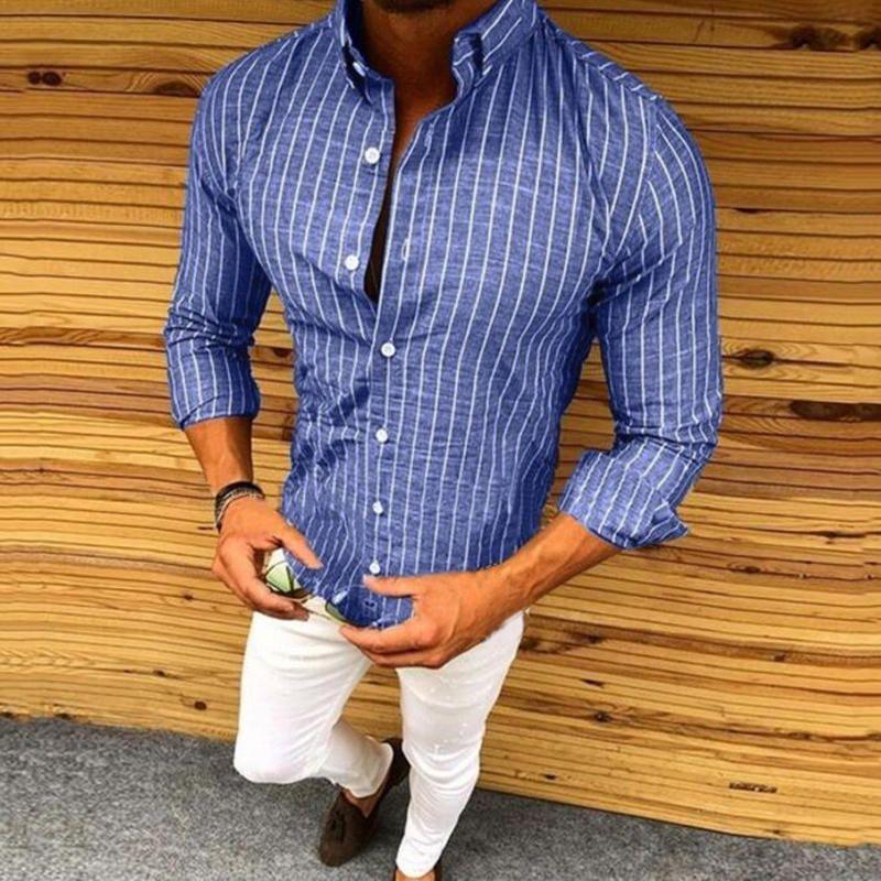 Men's Shirt Slim Fit Stripe Long Sleeve Casual Button Shirts Formal Top Blouse