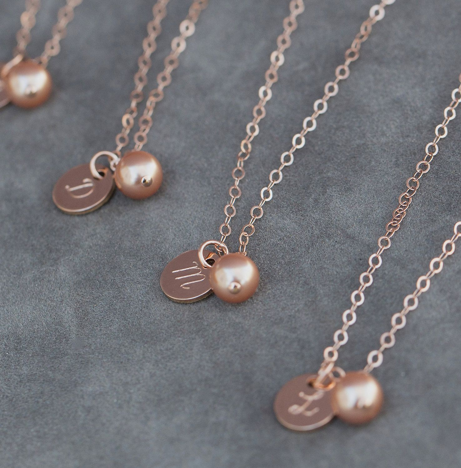 Initial Necklace Rose Gold Bridesmaid Jewelry Rose Gold Pearl