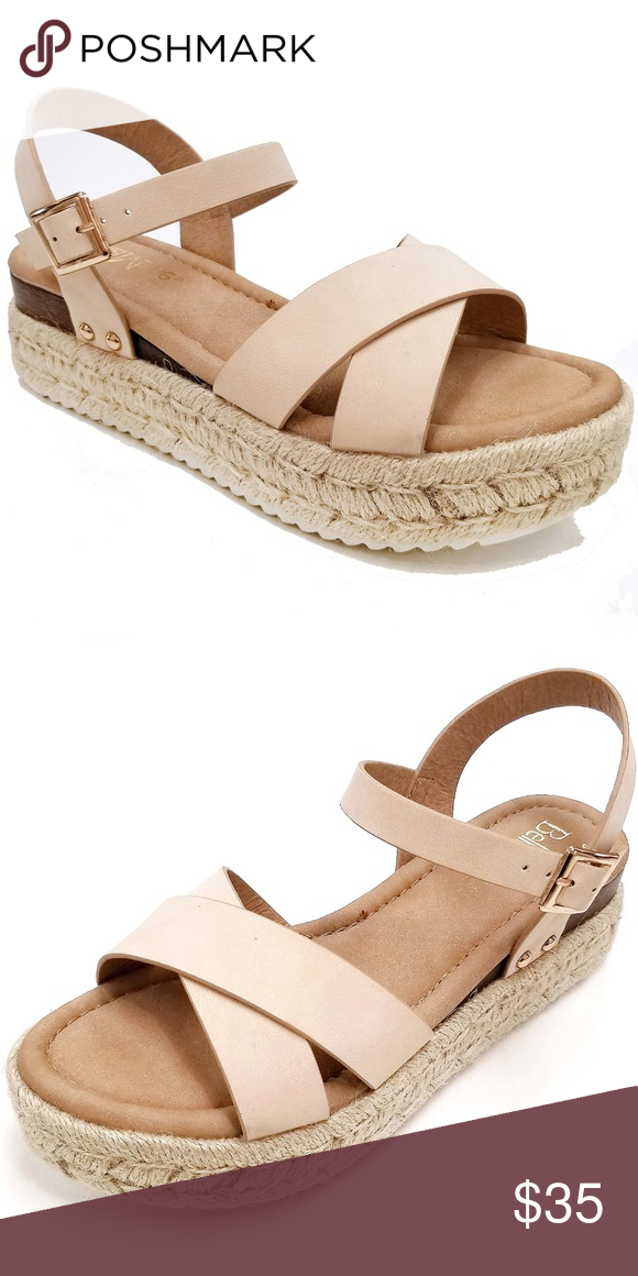 6bf7f422be12 New Nude Straps Low Platform Espadrille Sandals Newly arrived 2019 Spring  open toe criss cross flatform espadrille sandals New in box Man made  material Open ...