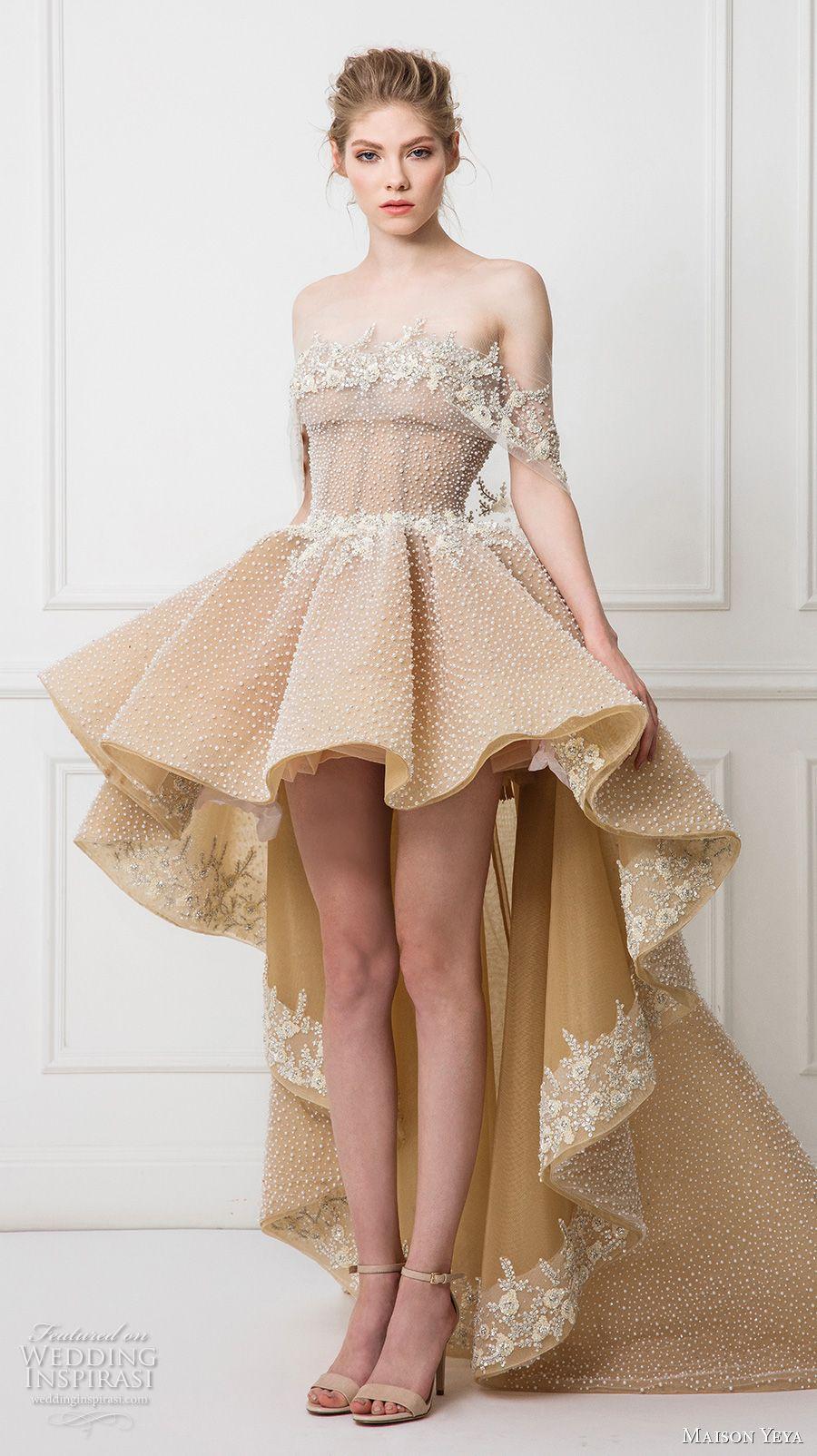 Off the shoulder tea length wedding dress  Maison Yeya  Wedding Dresses u ucLes Réfugiés Duamourud Bridal