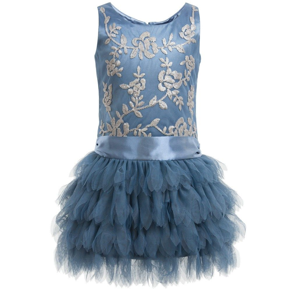 Blue Tulle & Silver Sequin Dress | Silver sequin, Biscotti and Sequins
