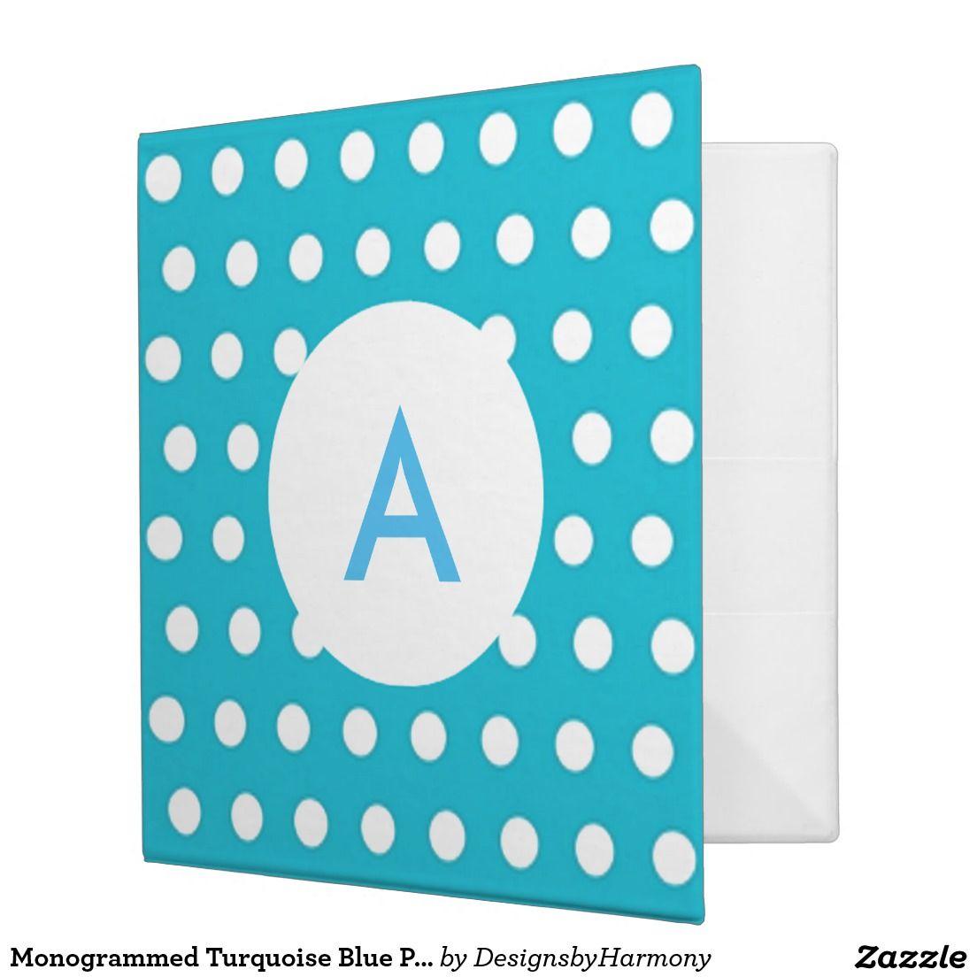 Monogrammed Turquoise Blue Polka Dots 3 Ring Binder