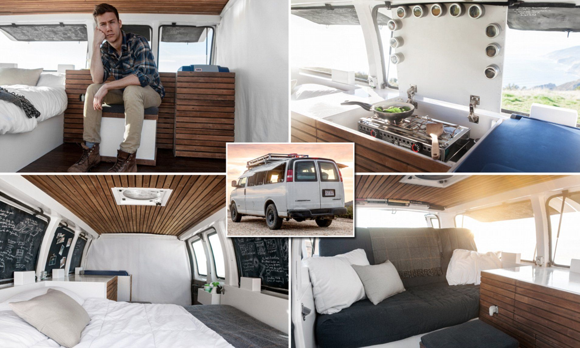 Photo of Man bored with the 9-5 life converts Chevy van workspace on wheels