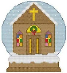 Cross Stitch Knit Crochet Plastic Canvas Waste Canvas Rug Hooking and Bead Work Pattern  Christian Church scene in a Snow Globe.  https://www.pinterest.com/resparkled/