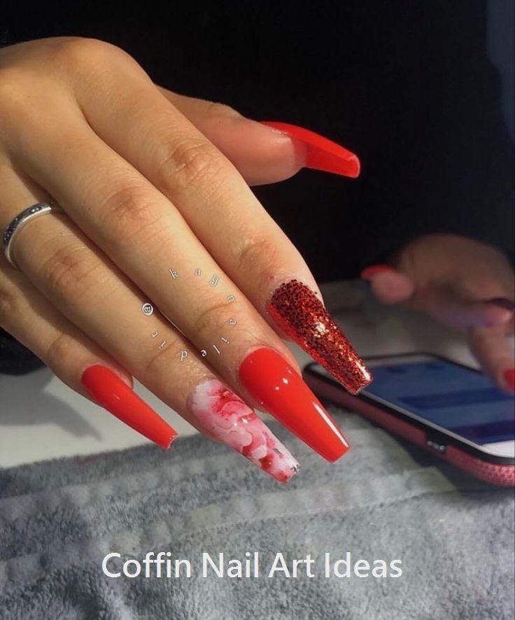 20 Trendy Coffin Nail Art Designs Coffinnails Naildesign Red Acrylic Nails Ballerina Nails Designs Nails