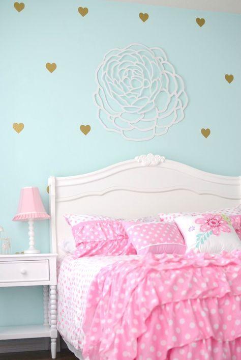 Finley S Aqua Pink Gold And White Big Girl Room Project Nursery Pink Bedroom For Girls Girls Bedroom Makeover Aqua Bedrooms