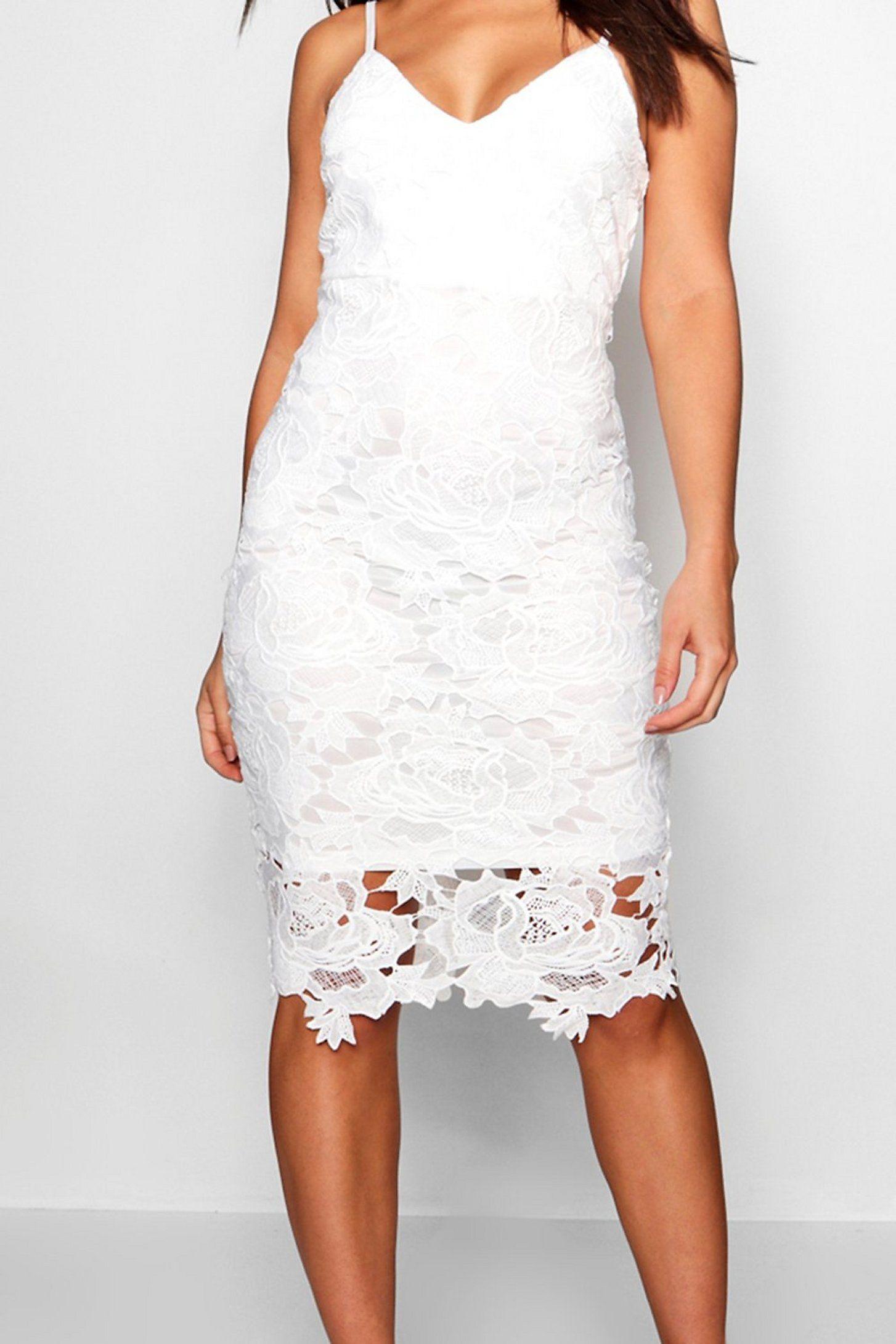 Boutique Crochet Lace Strappy Midi Dress Boohoo In 2021 Midi Dress Bodycon Lace Midi Dress Midi Dress [ 2181 x 1454 Pixel ]