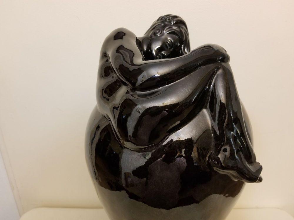 Vintage Van Briggle Large Black Despondency Vase Marked American