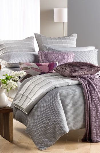 gray and lavender make such a lovely bedroom palette.
