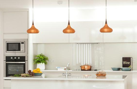 Hippe hanglampen voor boven het keukeneiland interieur
