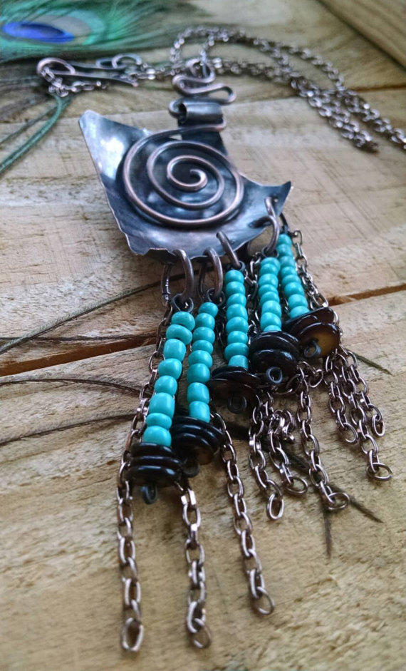 Spiral Medallion Tribal Totem Necklace Primitive Copper Jewelry ...