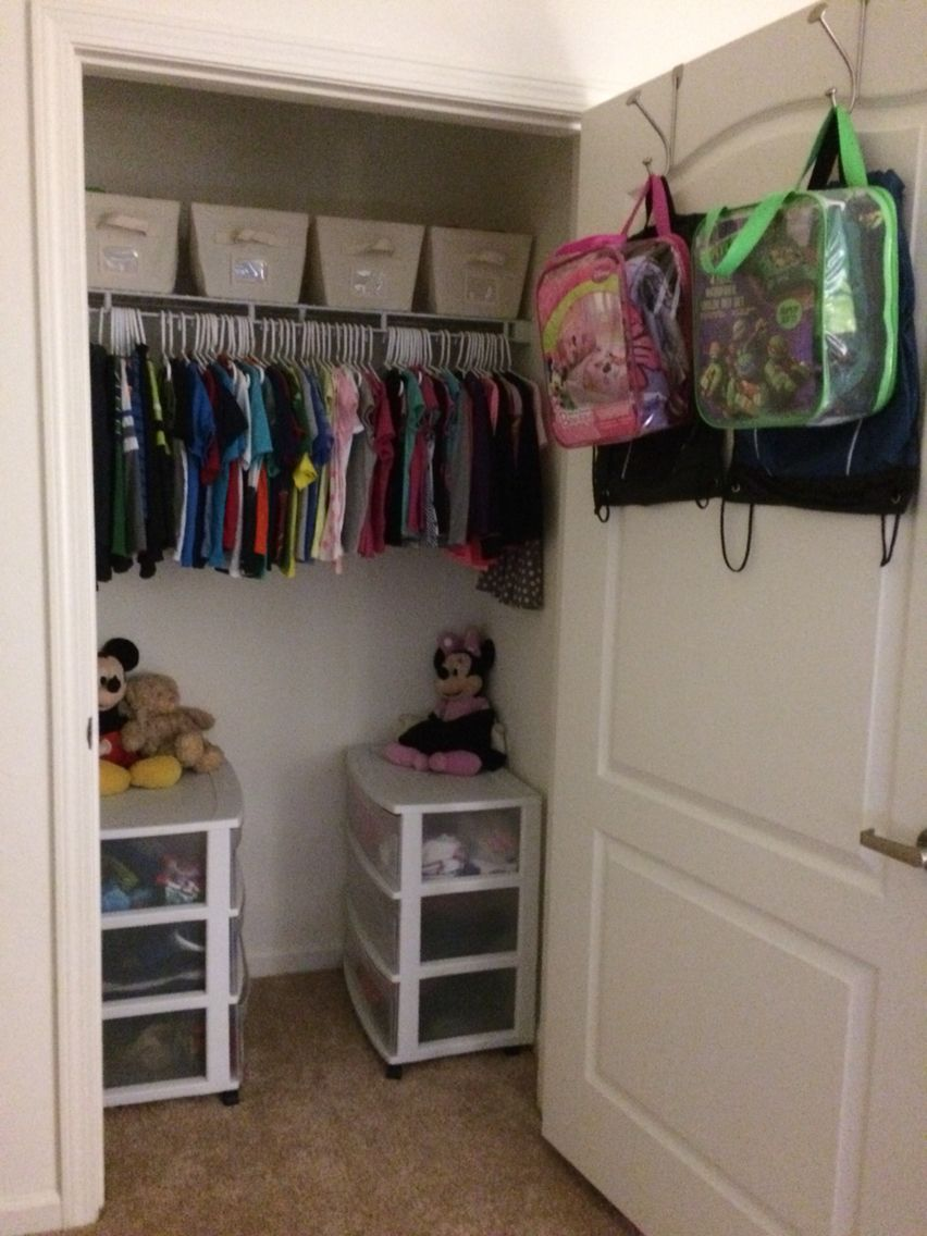 Organizing A Small Closet For Two Kids!