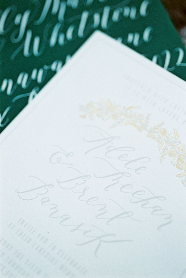 Emerald green and light gray invitation suite by Cast Calligraphy and Design. Photo by Rebecca Hollis
