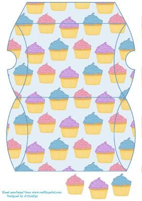 Cupcake pillow box 2  on Craftsuprint designed by Annette Crossley - Pale blue pillow box with a multi colour cupcake design and 3 small cupcake toppers. - Now available for download!