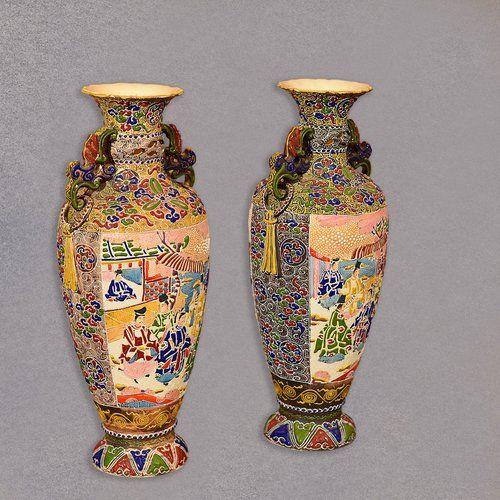 Antiques Atlas - Pair Of Antique Japanese Moriage Satsuma Vases