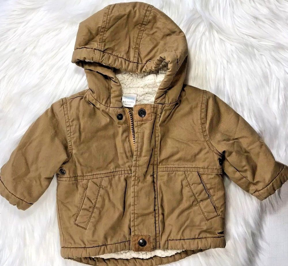 7e73ffab5 Gymboree Baby Boys 3-6 Months Tan Hooded Soft Canvas Coat with ...
