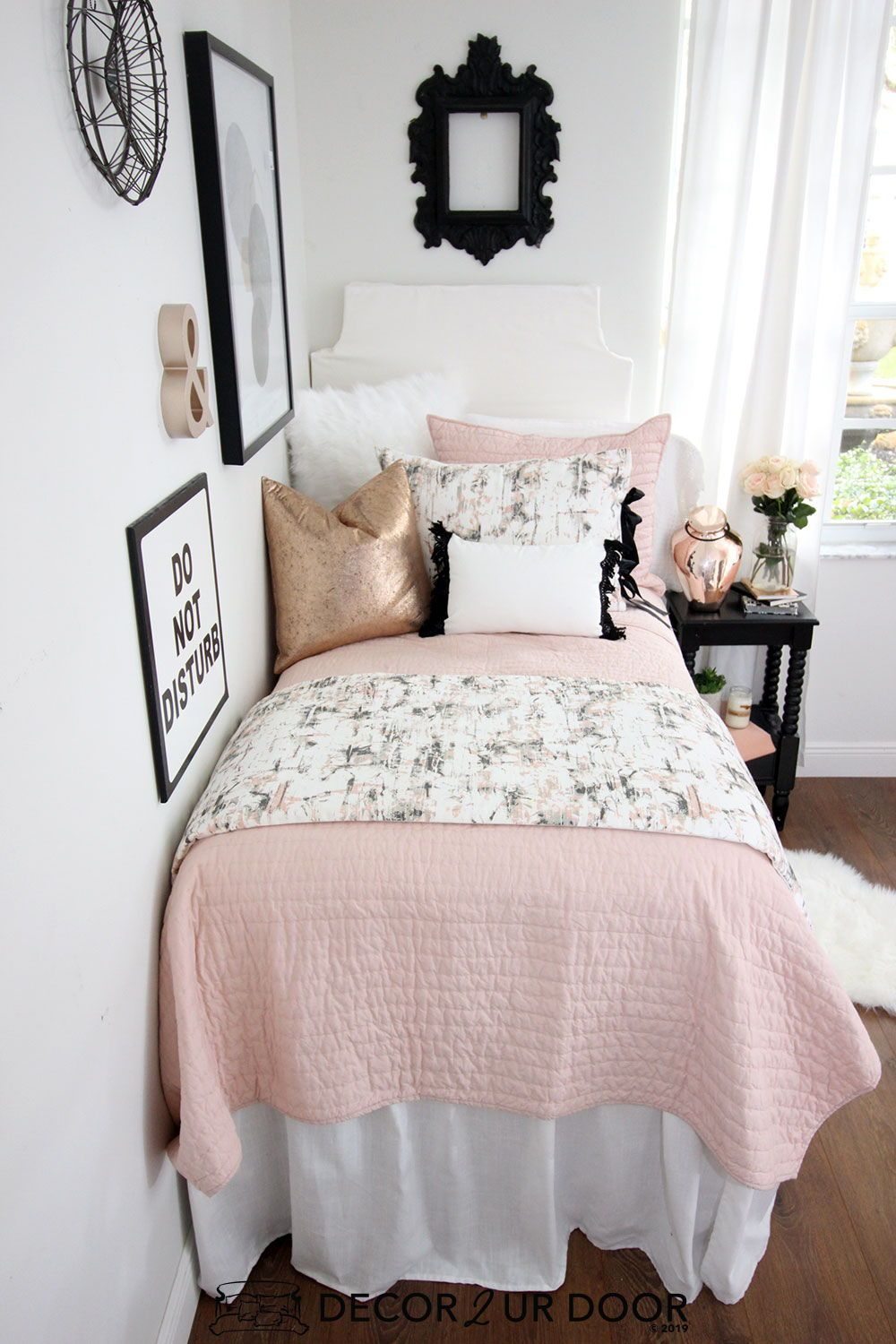 Blush Rose Gold Marble Dorm Bedding Set images