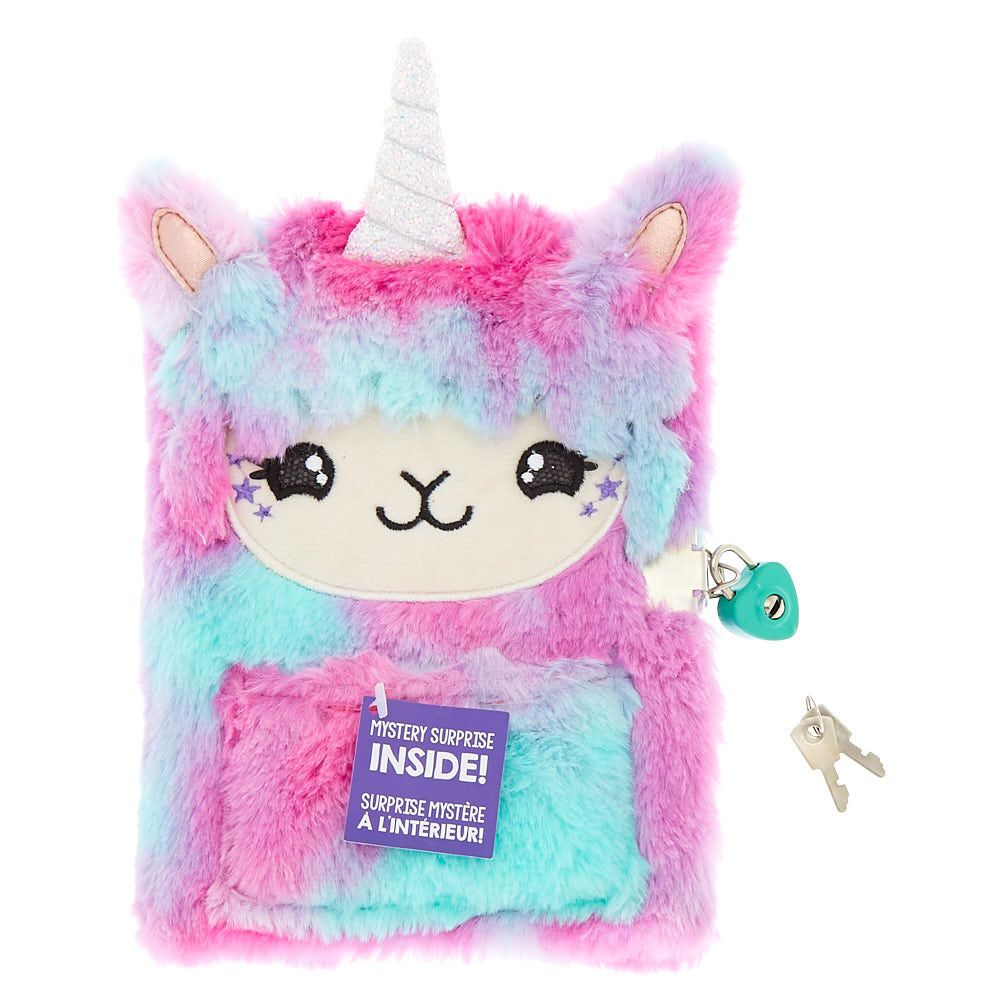 Claire S Lala The Llamacorn Lock Plush Diary Pink Cute