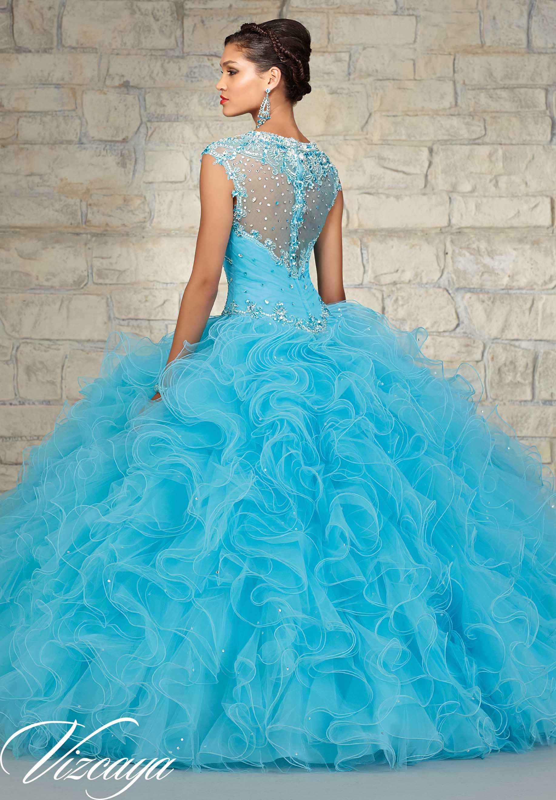 Quinceanera Gowns Style 89033: Beaded Tulle with a Ruffled Ball ...