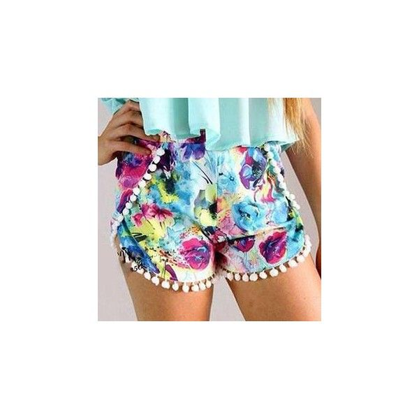 Floral Pompom Accent Shorts ($12) ❤ liked on Polyvore
