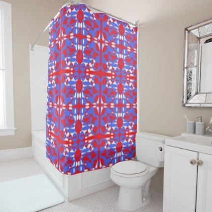 Red White And Blue Spheres Shower Curtain Zazzle Com Blue