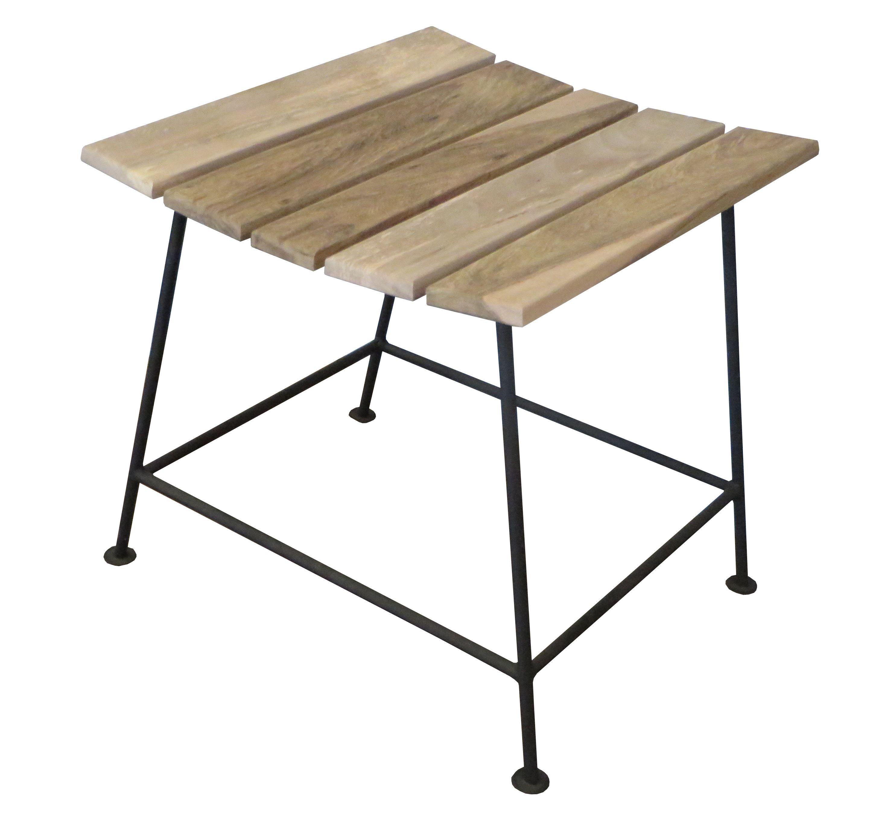 Banqueta de madera con patas de hierro piacenza las for Banquetas de madera