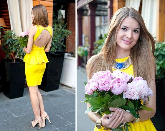Wedding Guest Outfit Yellow Peplum Dress