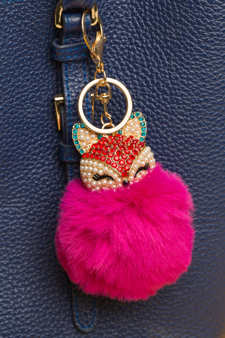Charm Bling Fox Pompom Keychain Gift for Her Silver Crystals Coffee Fur Key Ring Stocking Fillers Gold Keychain