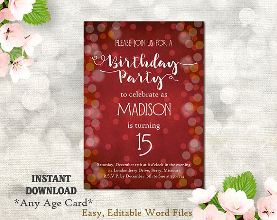 Printable Birthday Party Invitation Template 15th Birthday Etsy Party Invite Template Birthday Party Invitations Printable Birthday Party Invitation Templates