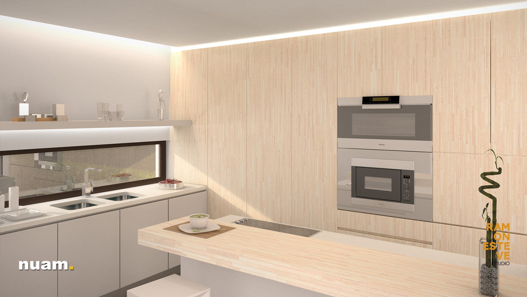 Kitchen at semi detached luxury villas in moraira spain by ramón esteve